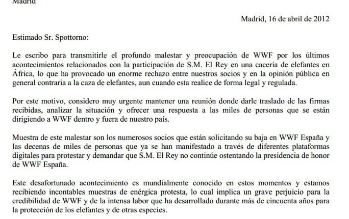 WWF - Carta al Rey
