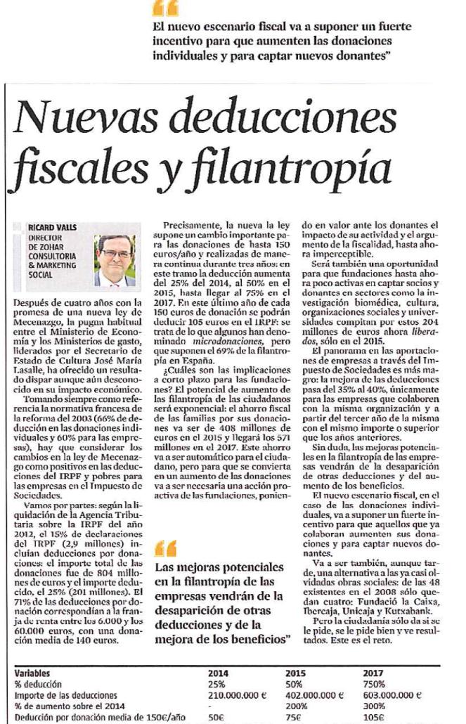 Os adjunto el artículo de l Vanguardia de la semana pasada